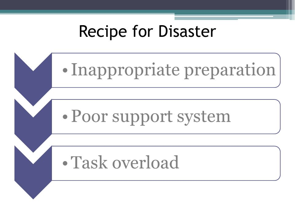 Recipe for Disaster Inappropriate preparation Poor support system