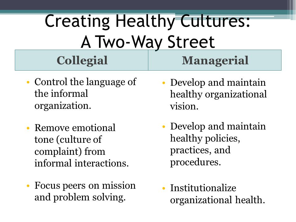 Creating Healthy Cultures: A Two-Way Street
