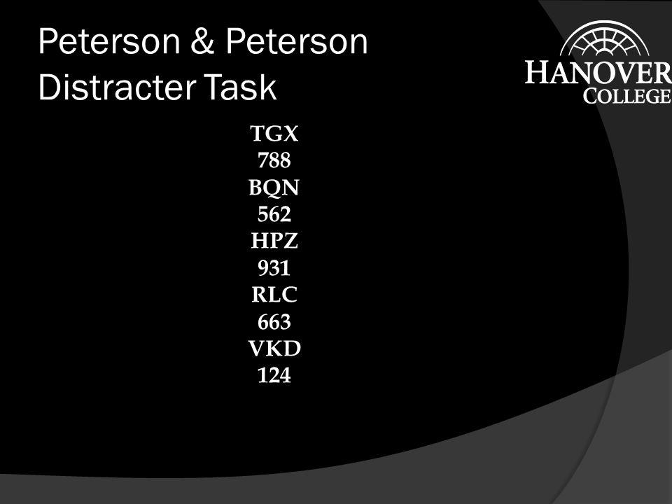 Peterson & Peterson Distracter Task