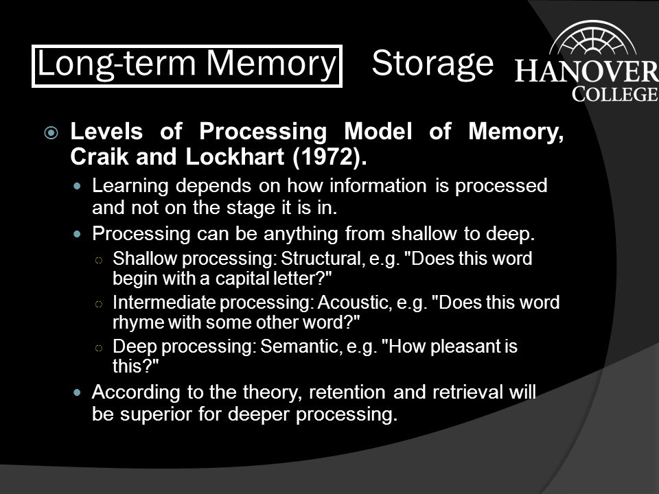 Long-term Memory Storage