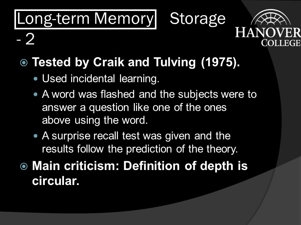 Long-term Memory Storage - 2