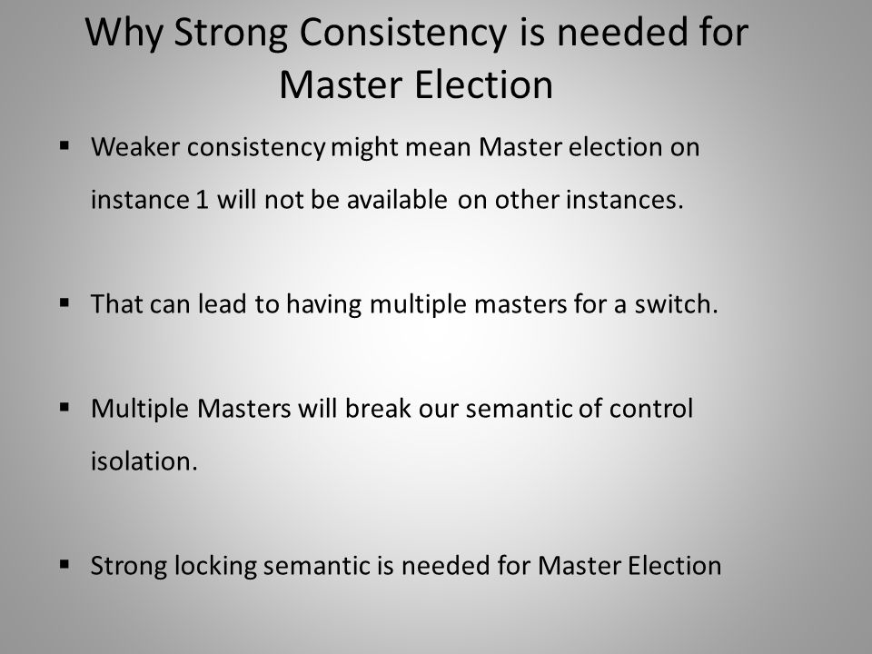 Why Strong Consistency is needed for Master Election