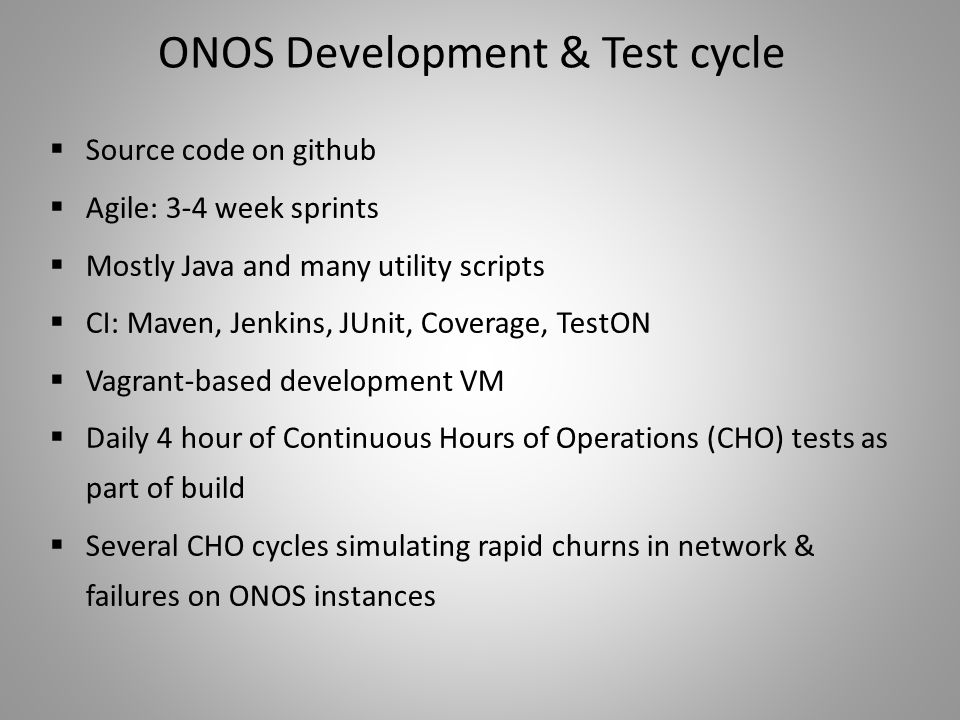ONOS Development & Test cycle