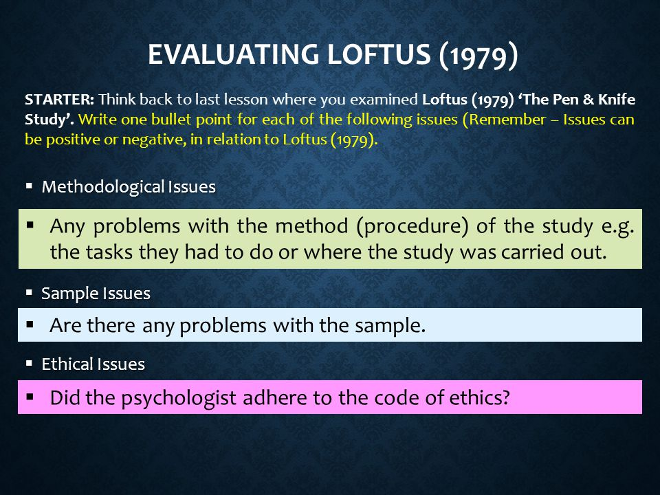 Evaluating Loftus (1979)