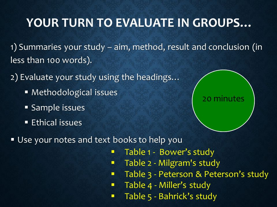 Your turn to evaluate in groups…