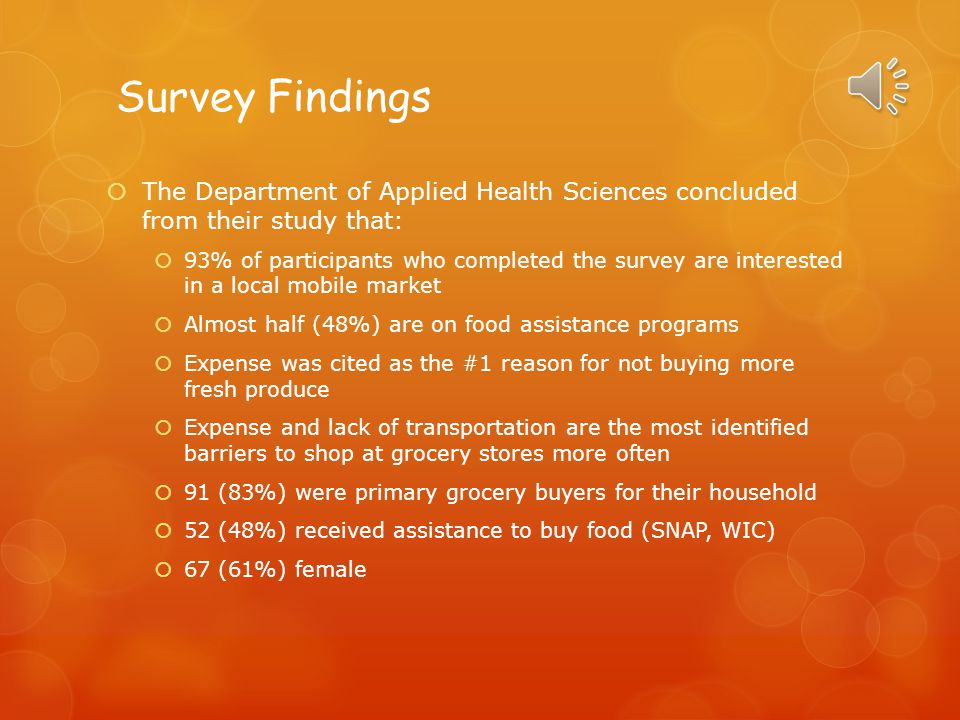 Survey Findings The Department of Applied Health Sciences concluded from their study that: