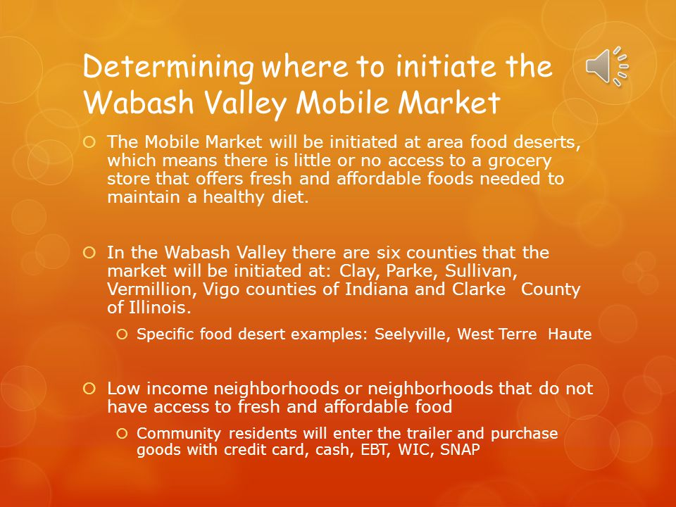 Determining where to initiate the Wabash Valley Mobile Market