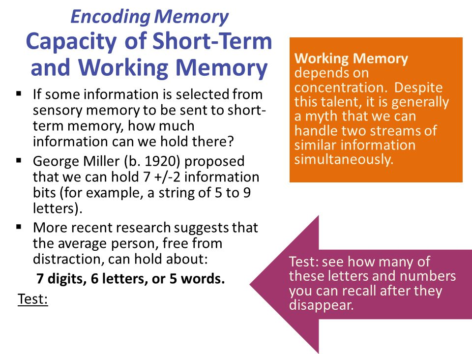 Encoding Memory Capacity of Short-Term and Working Memory