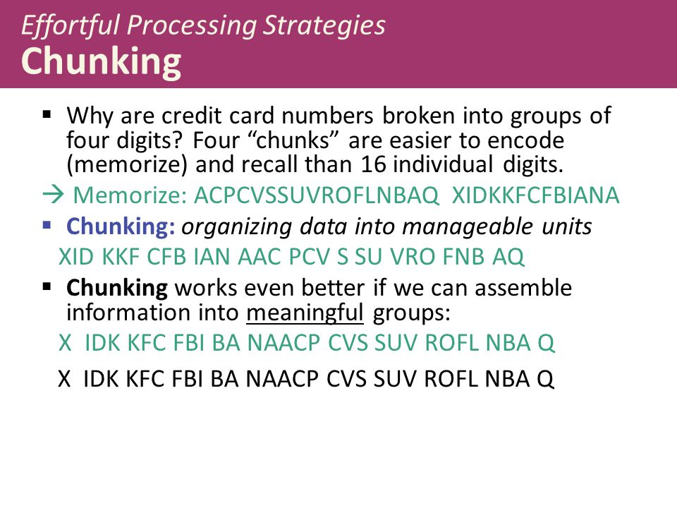 Effortful Processing Strategies Chunking
