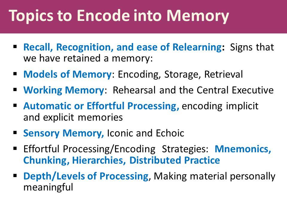 Topics to Encode into Memory