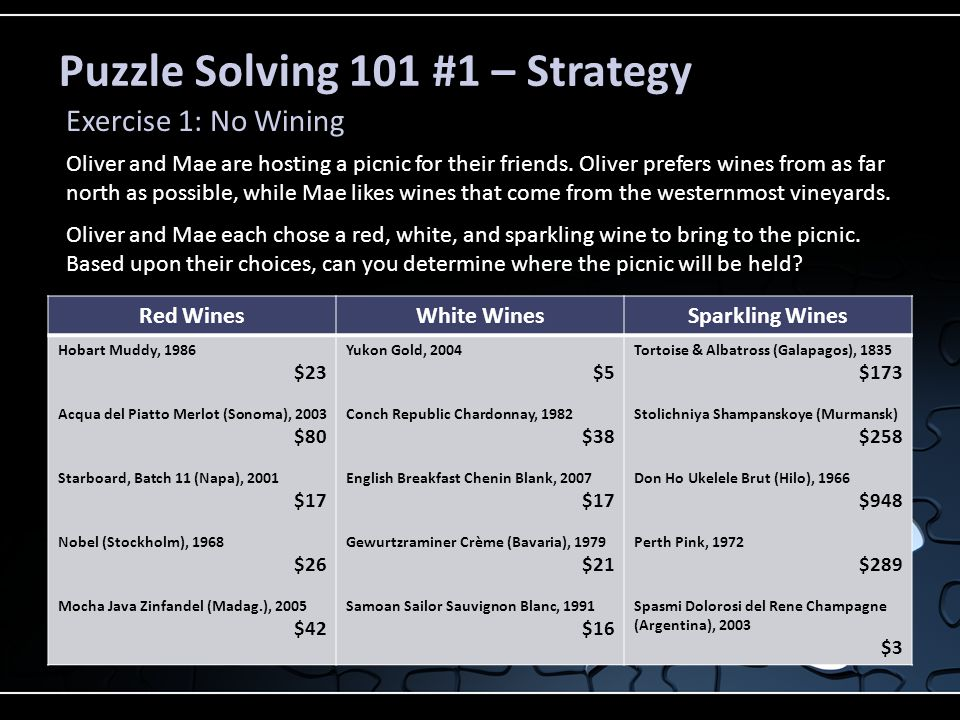 Puzzle Solving 101 #1 – Strategy