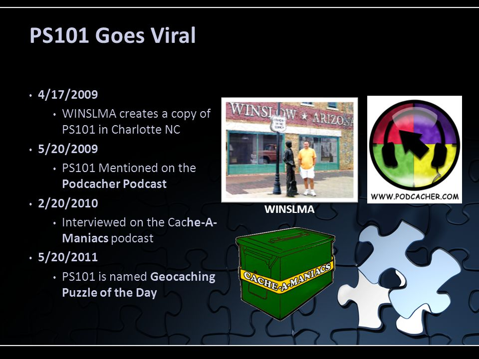PS101 Goes Viral 4/17/2009. WINSLMA creates a copy of PS101 in Charlotte NC. 5/20/2009. PS101 Mentioned on the Podcacher Podcast.