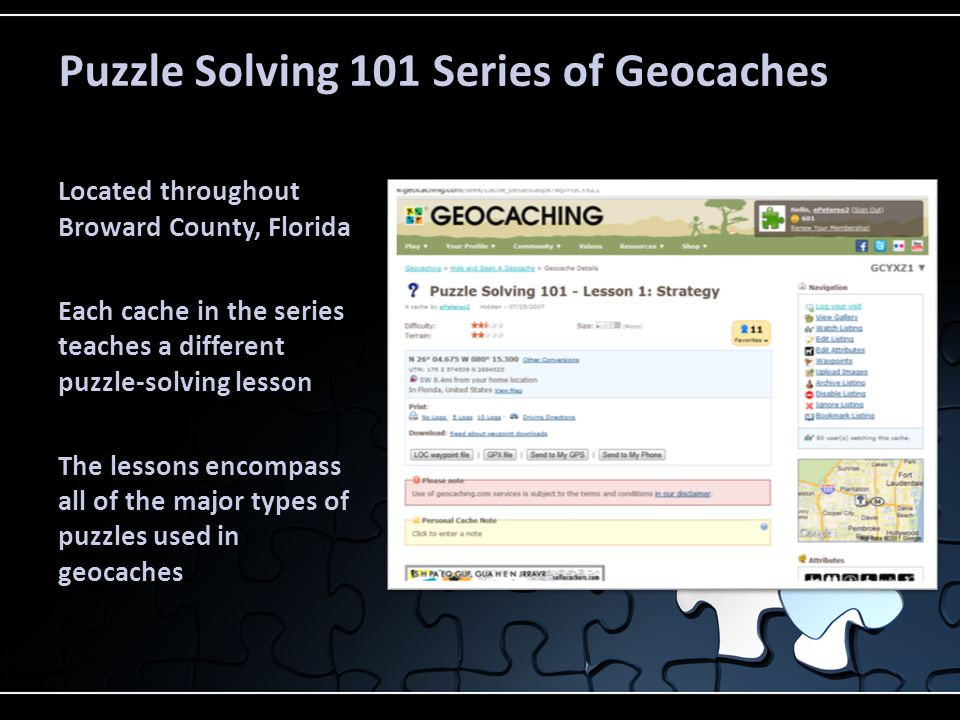 Puzzle Solving 101 Series of Geocaches