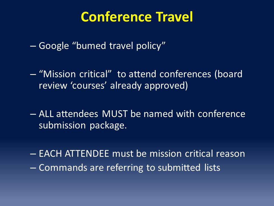 Conference Travel Google bumed travel policy