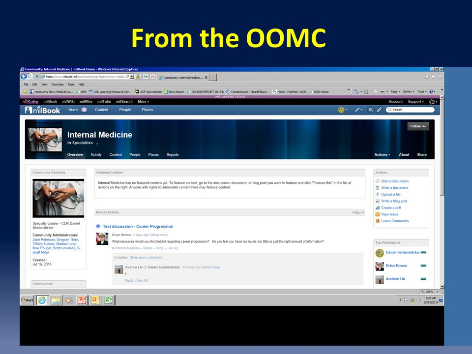 From the OOMC MilSuite. One place to organize key data to answer frequent questions or find points of contact.