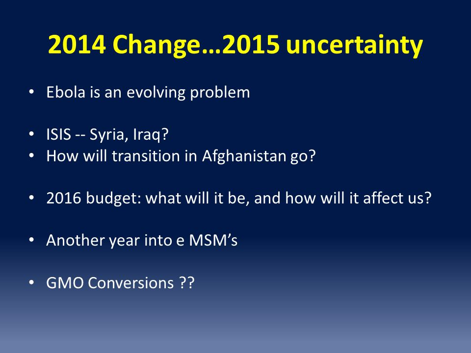 2014 Change…2015 uncertainty Ebola is an evolving problem