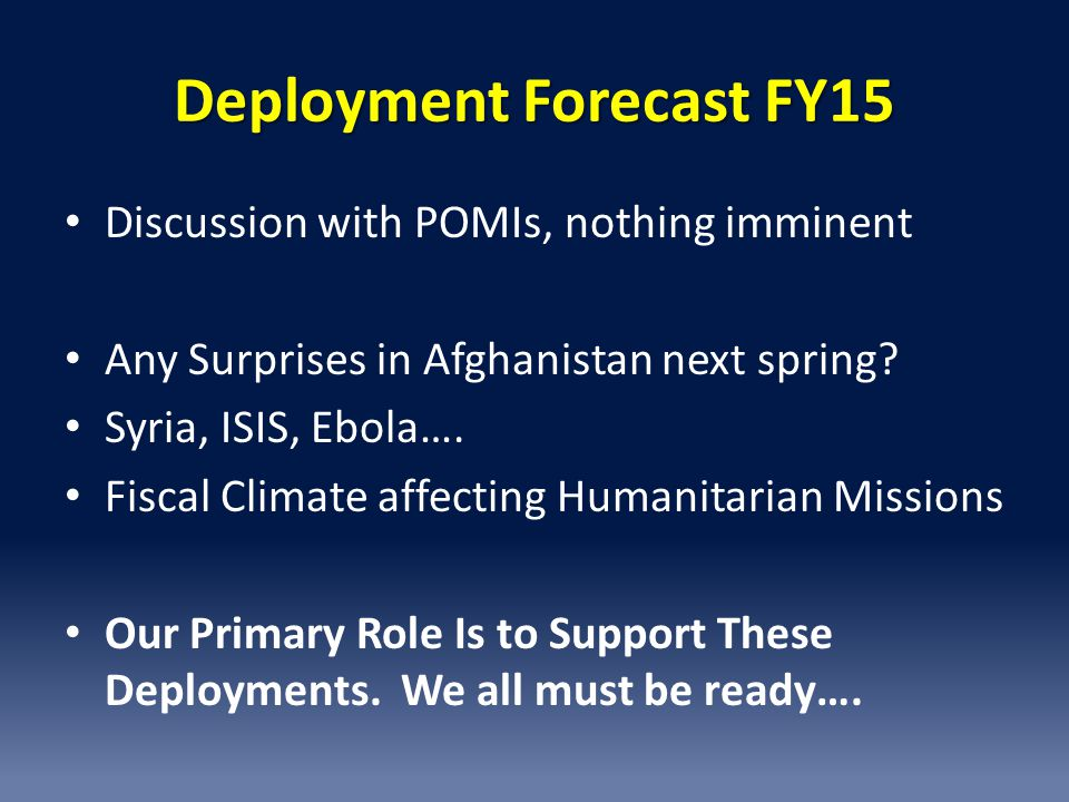 Deployment Forecast FY15