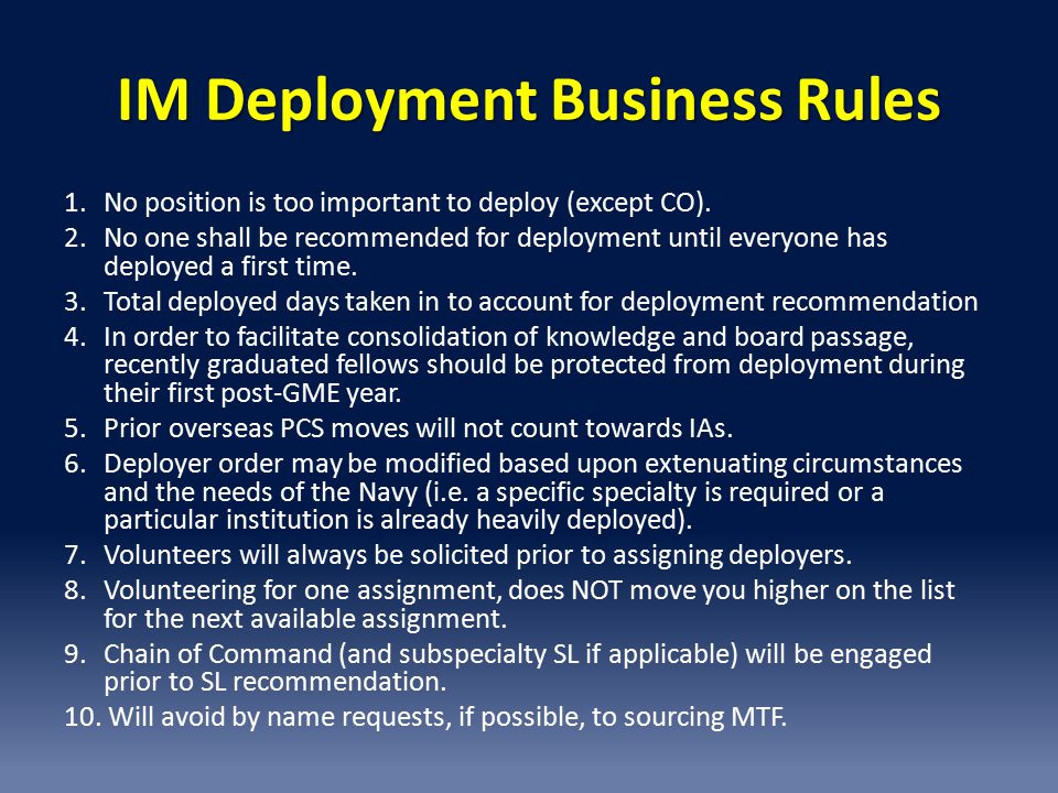 IM Deployment Business Rules