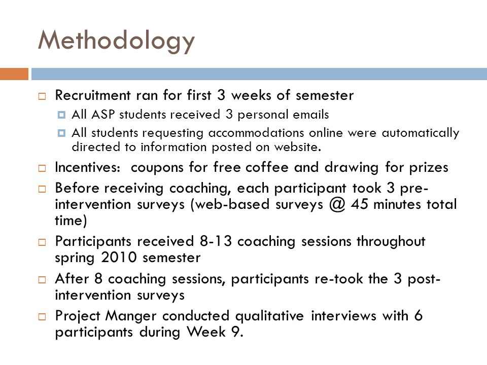 Methodology Recruitment ran for first 3 weeks of semester
