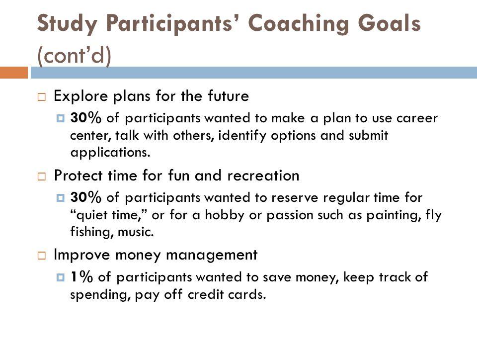 Study Participants' Coaching Goals (cont'd)