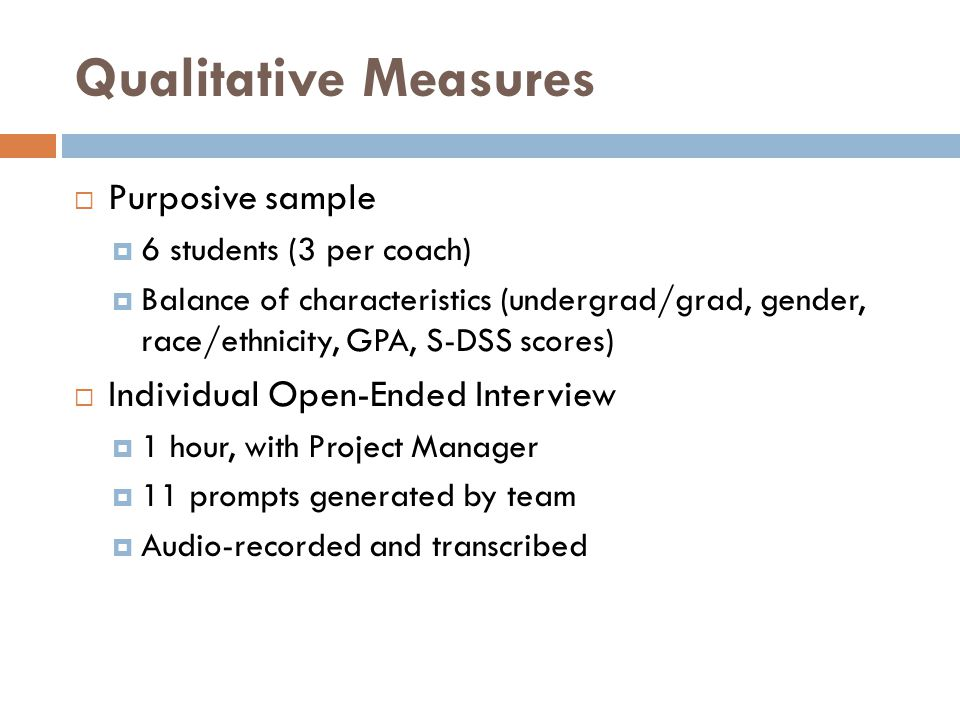 Qualitative Measures Purposive sample Individual Open-Ended Interview