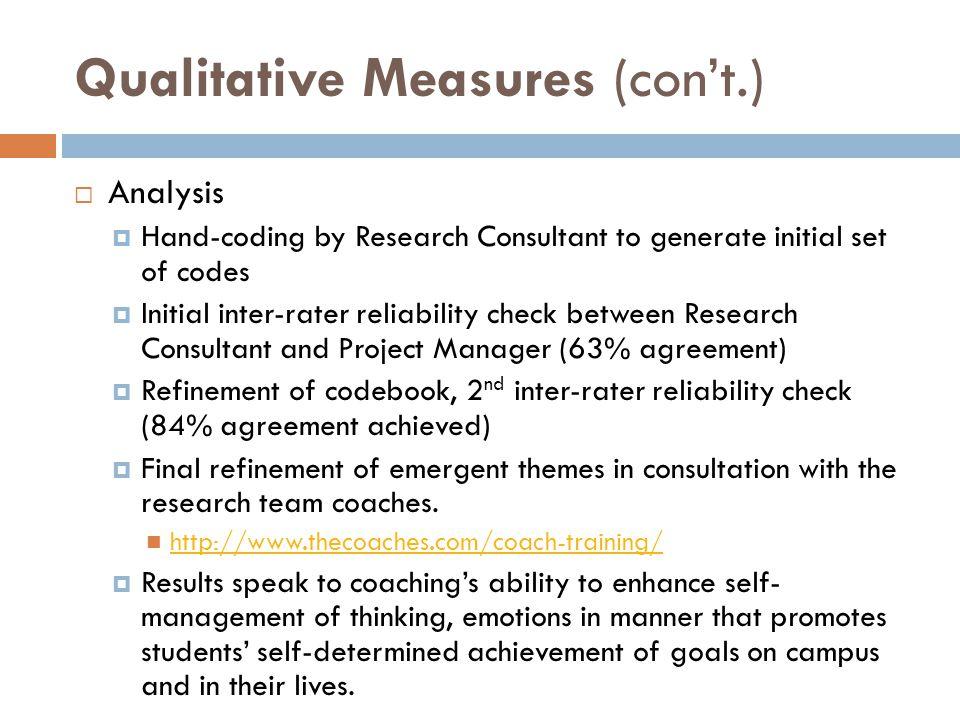 Qualitative Measures (con't.)