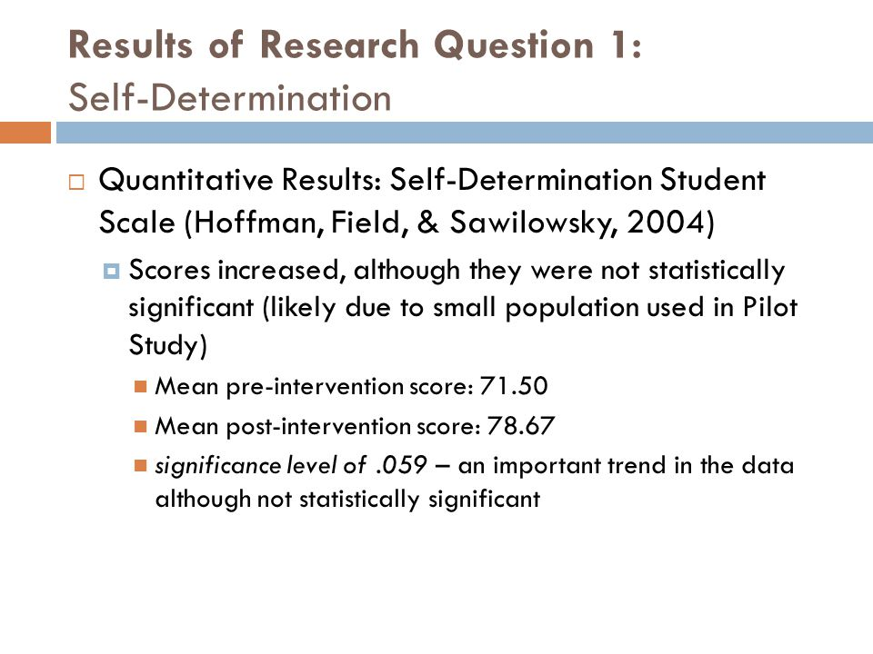 Results of Research Question 1: Self-Determination