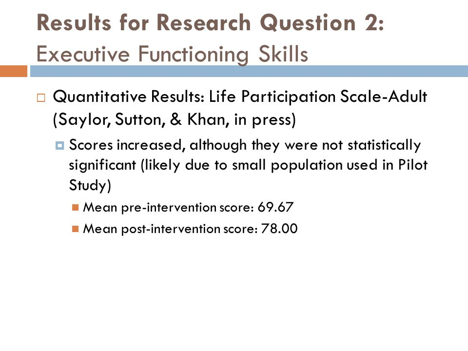 Results for Research Question 2: Executive Functioning Skills