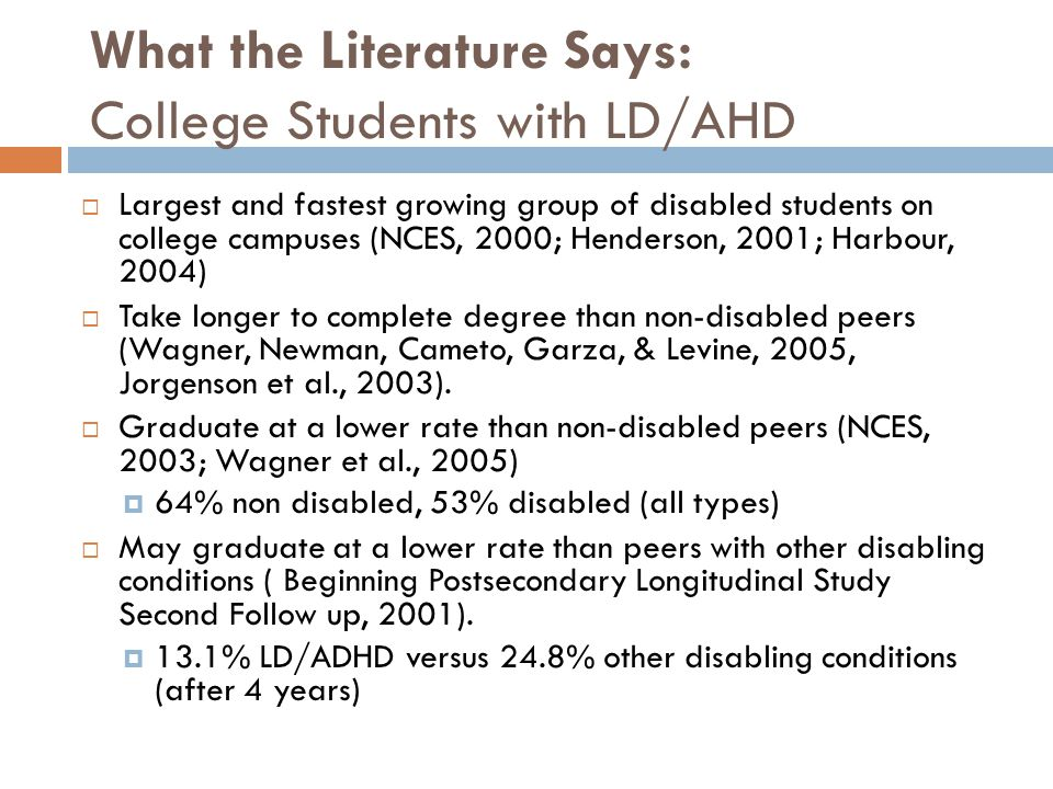 What the Literature Says: College Students with LD/AHD