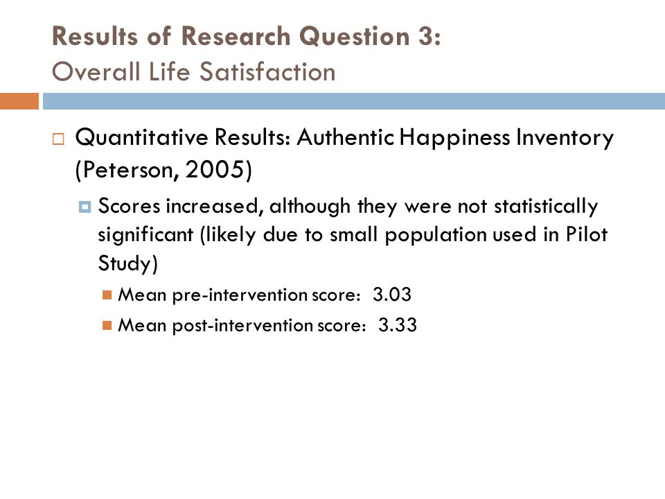 Results of Research Question 3: Overall Life Satisfaction
