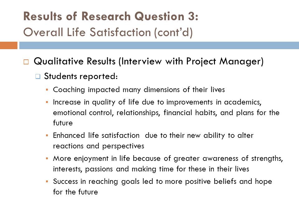 Results of Research Question 3: Overall Life Satisfaction (cont'd)