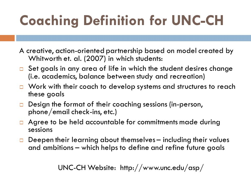 Coaching Definition for UNC-CH