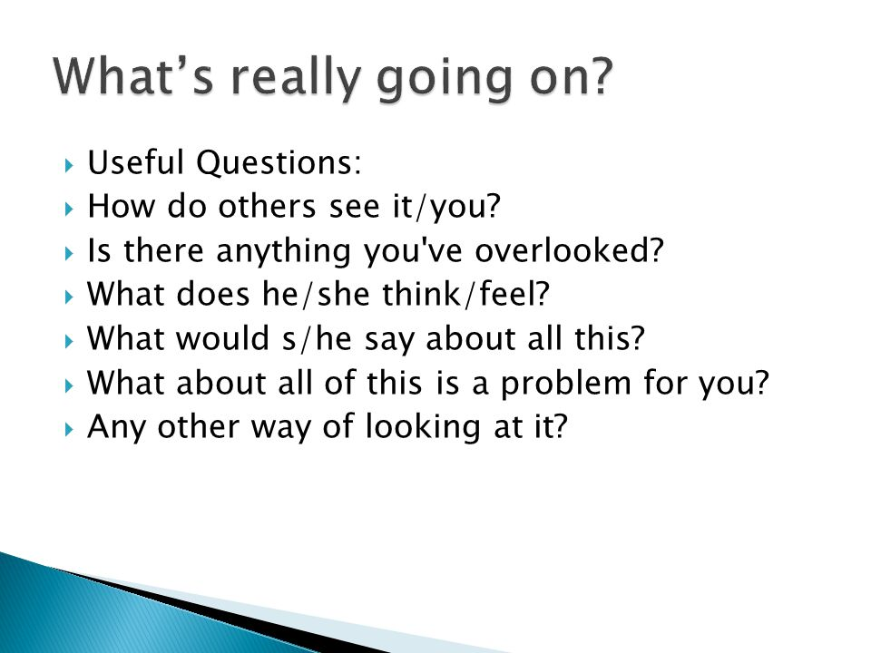 What's really going on Useful Questions: How do others see it/you