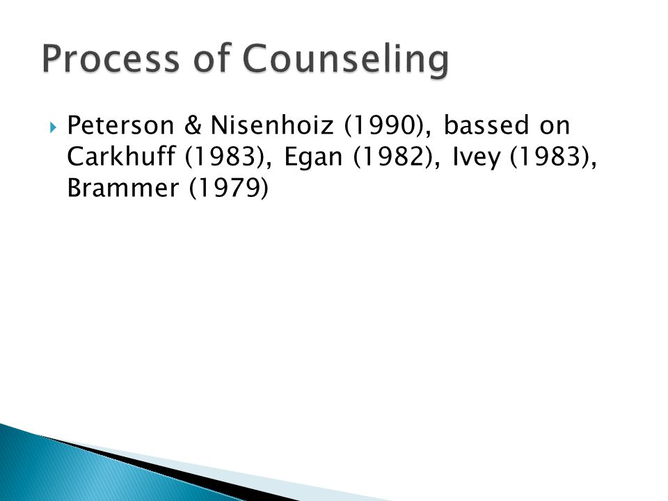 Process of Counseling Peterson & Nisenhoiz (1990), bassed on Carkhuff (1983), Egan (1982), Ivey (1983), Brammer (1979)