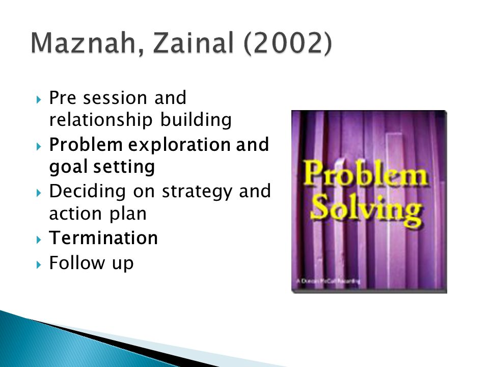 Maznah, Zainal (2002) Pre session and relationship building