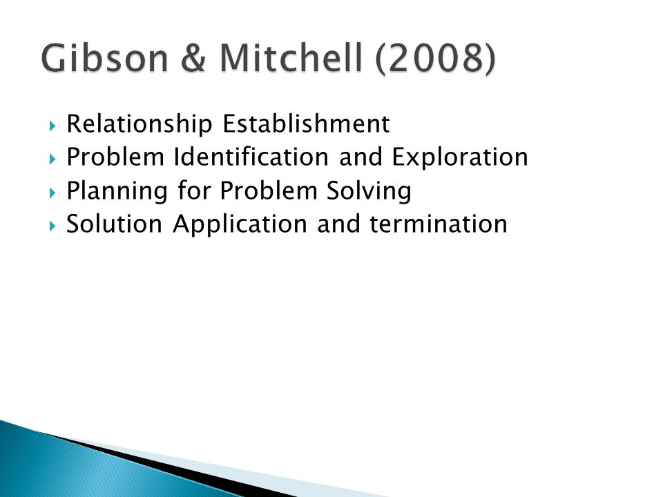 Gibson & Mitchell (2008) Relationship Establishment