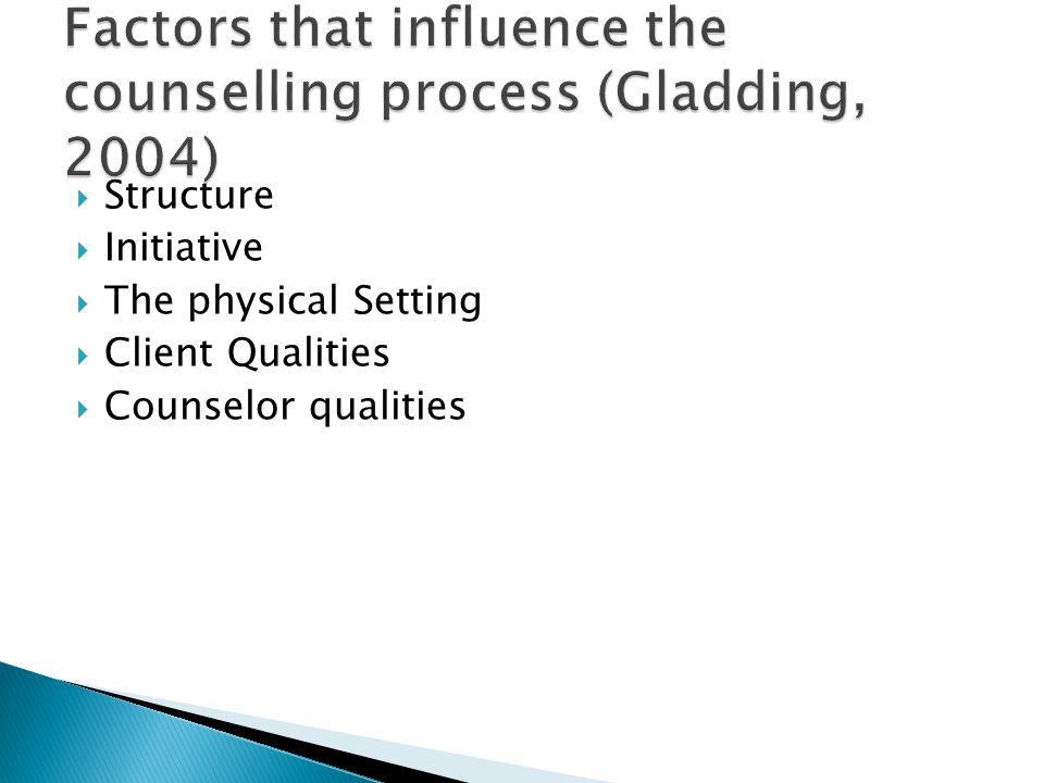 Factors that influence the counselling process (Gladding, 2004)