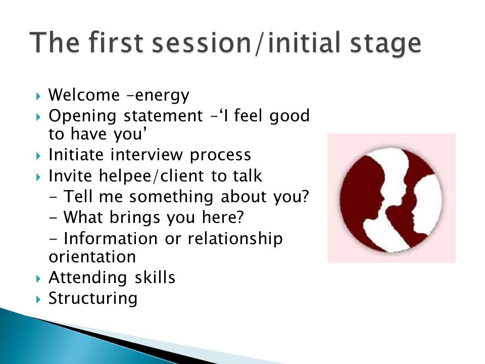 The first session/initial stage