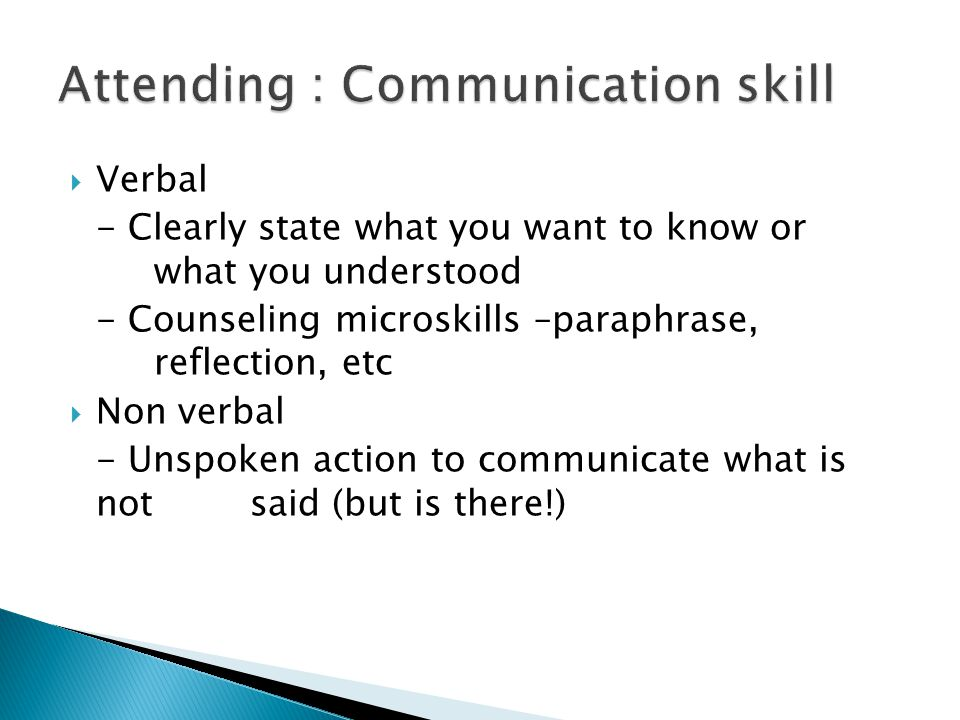 Attending : Communication skill