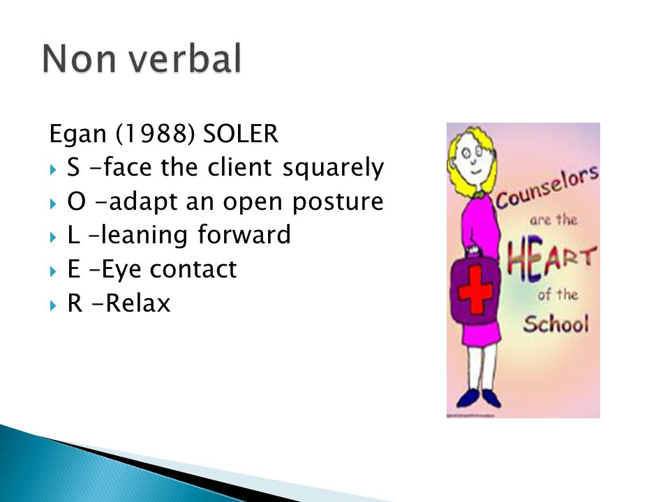 Non verbal Egan (1988) SOLER S -face the client squarely