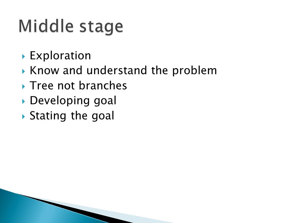 Middle stage Exploration Know and understand the problem