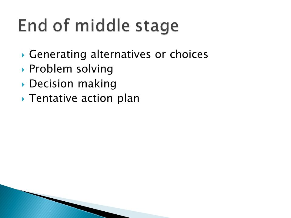 End of middle stage Generating alternatives or choices Problem solving