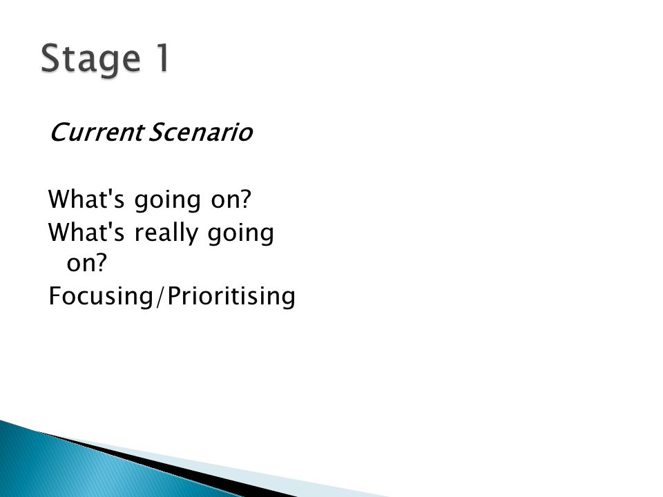 Stage 1 Current Scenario What s going on What s really going on Focusing/Prioritising