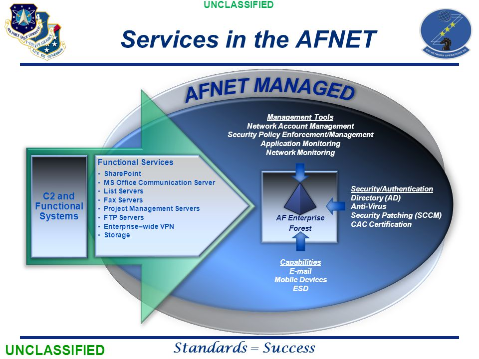 Services in the AFNET AFNET MANAGED UNCLASSIFIED