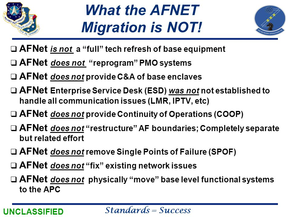 What the AFNET Migration is NOT!