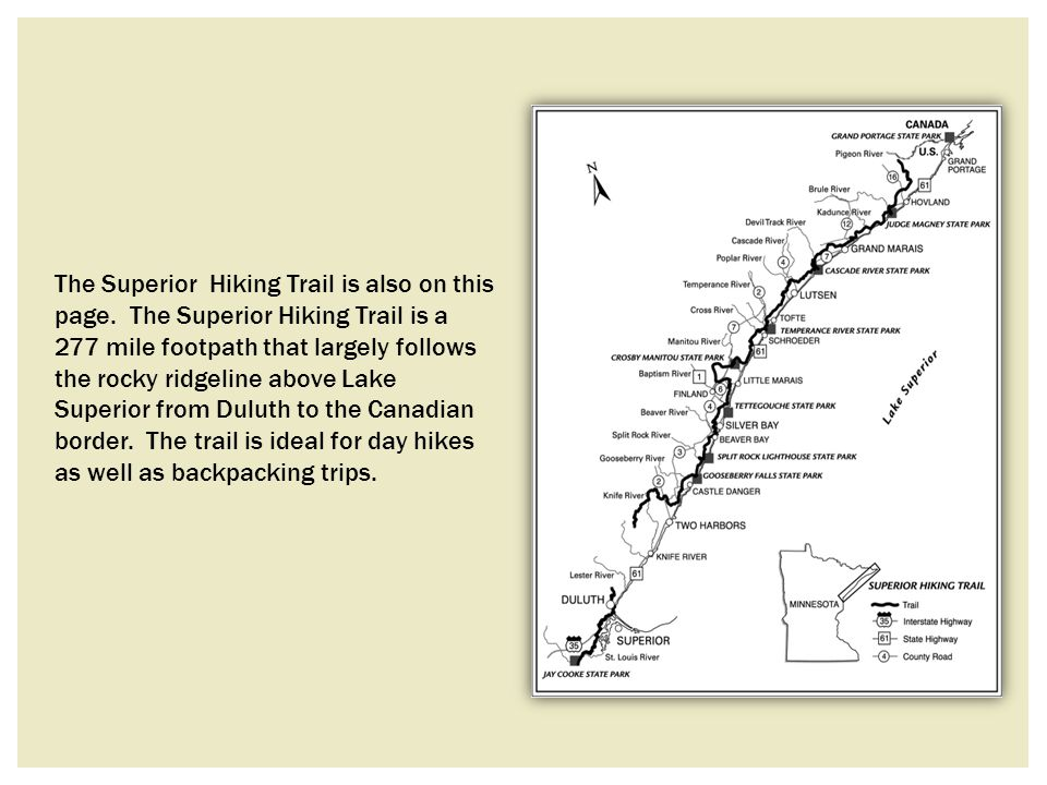 The Superior Hiking Trail is also on this page