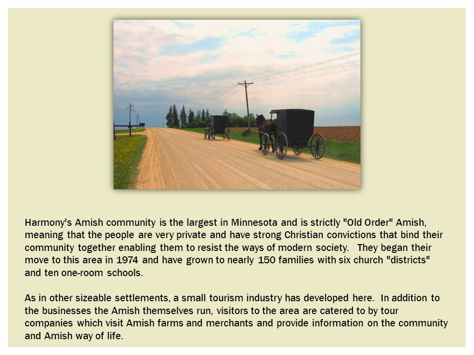 Harmony s Amish community is the largest in Minnesota and is strictly Old Order Amish, meaning that the people are very private and have strong Christian convictions that bind their community together enabling them to resist the ways of modern society. They began their move to this area in 1974 and have grown to nearly 150 families with six church districts and ten one-room schools.