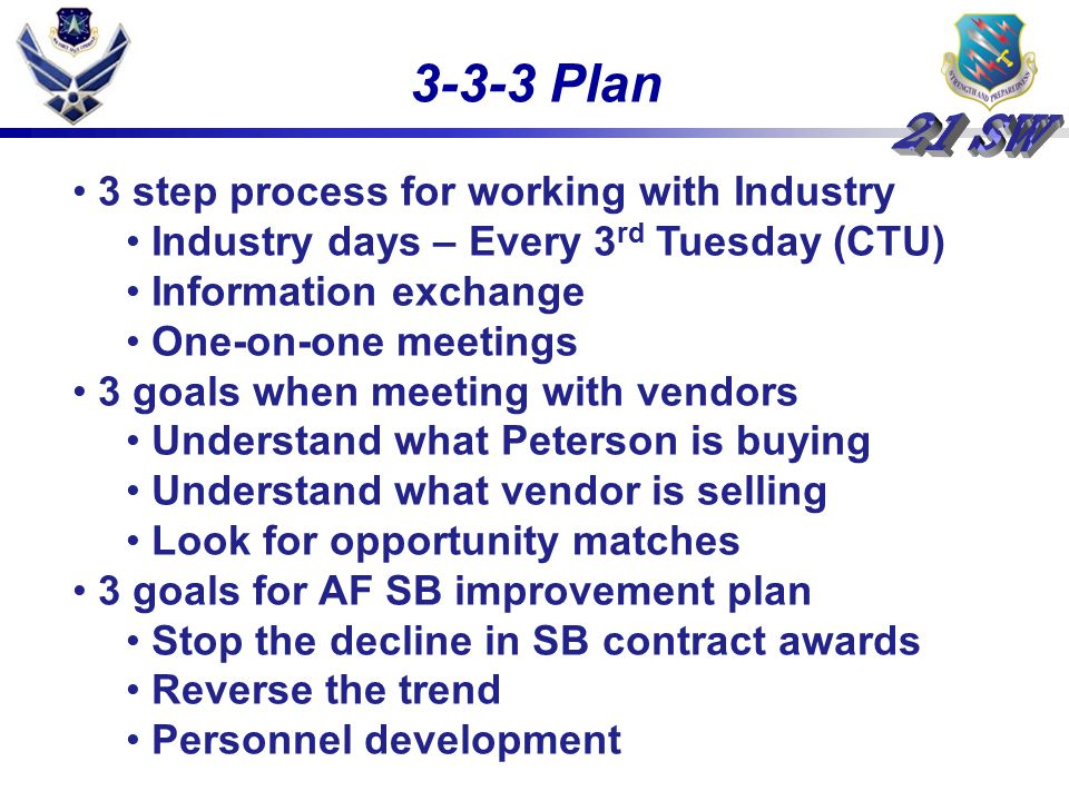 3-3-3 Plan 3 step process for working with Industry