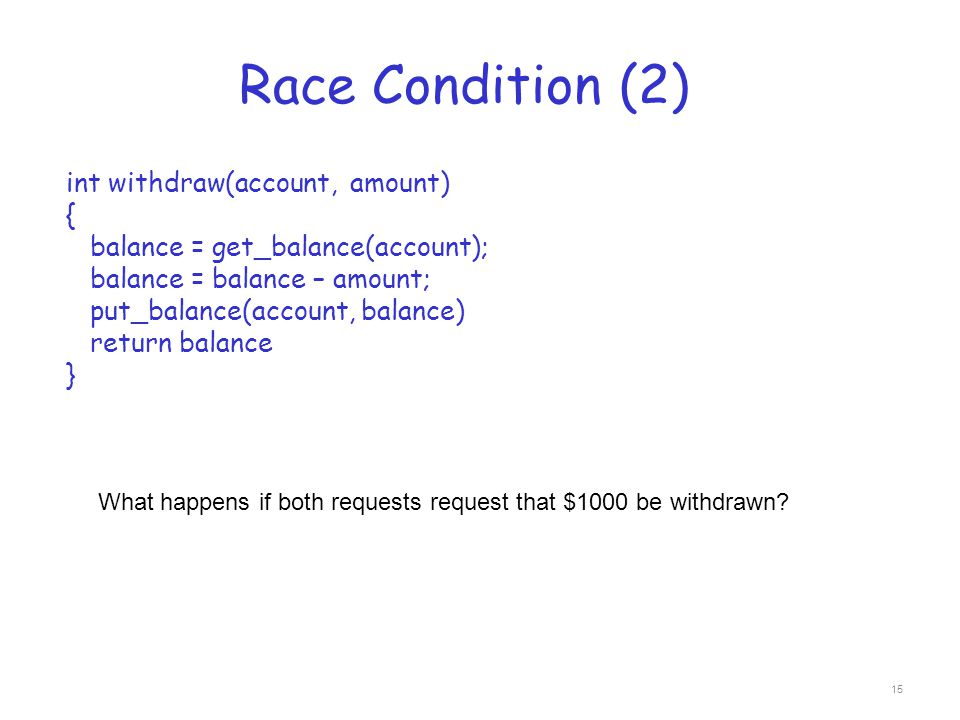 Race Condition (2) int withdraw(account, amount) {