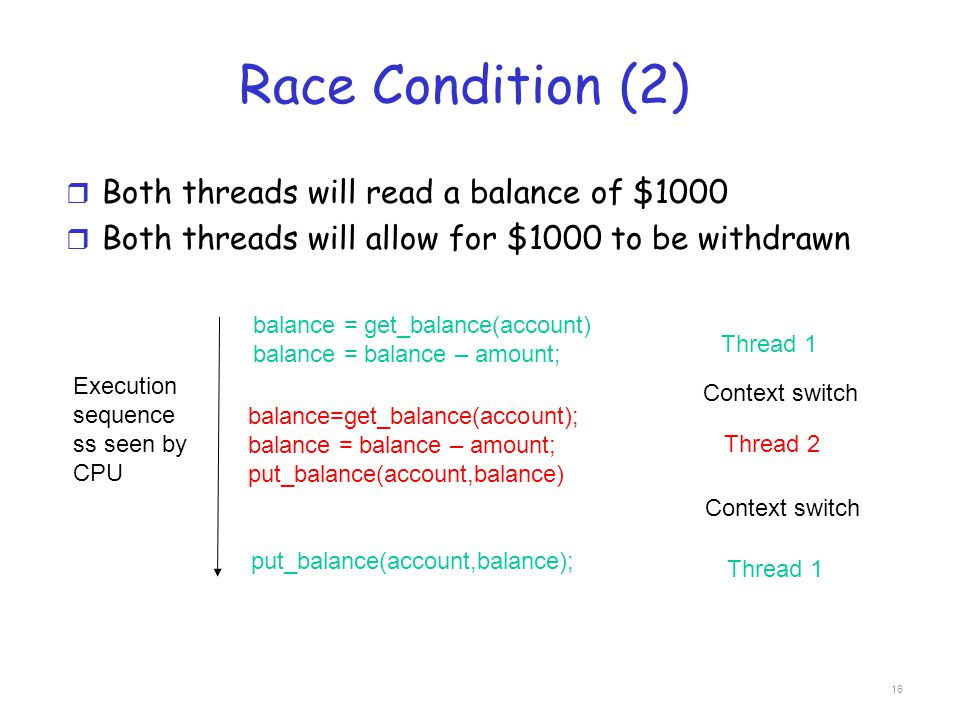 Race Condition (2) Both threads will read a balance of $1000